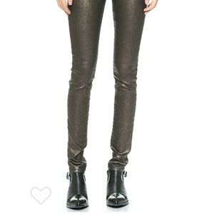 Joe's mid rise coated metallic skinny jeans
